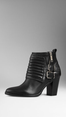 Burberry Polished Leather Biker Ankle Boots