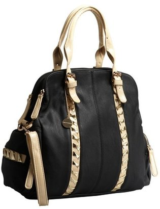 Big Buddha black and khaki leather 'Alexia' convertible tote bag