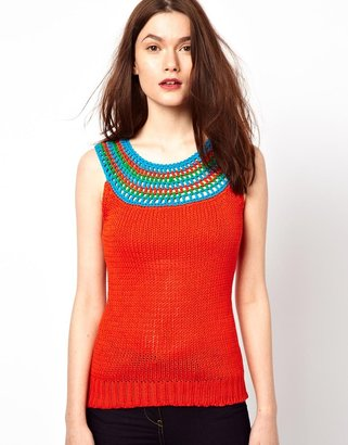 Milly Knitted Tank Top With Crochet Bib