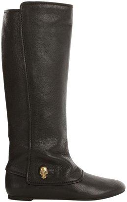 Alexander McQueen Black City Leather Skull Charm Flat Boot