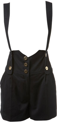 Miss Selfridge Navy shorts with braces