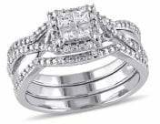 Concerto Set of Three Sterling Silver 0.5 TCW Diamond Princess-Cut Halo Engagement Rings