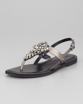 Vera Wang Avy Crystal T-Strap Sandal