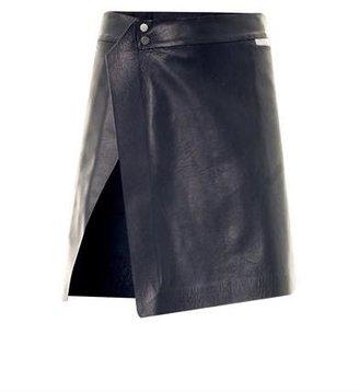 Thomas Laboratories Tait Reflective-trim leather skirt