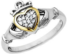 Lord & Taylor Diamond Accented Claddagh Ring in Sterling Silver with 14 Kt. Yellow Gold