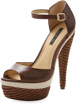 Rachel Zoe Bardot Leather-Raffia Ankle-Strap Pump