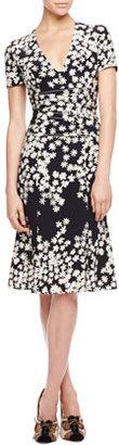 Carolina Herrera Floral Crepe de Chine Dress, Black/Ivory