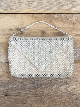 Free People Vintage Clear Bead Embellished Clutch