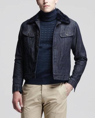 Maison Martin Margiela Denim Jacket with Shearling Collar