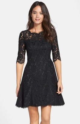 Petite Women's Eliza J Lace Fit & Flare Dress $158 thestylecure.com