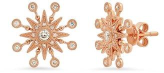 THE ALKEMISTRY Colette 18ct Rose Gold And Diamond Moon Starburst Earrings (pair)