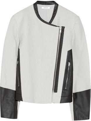 Helmut Lang Oversized leather-paneled wool-blend jacket