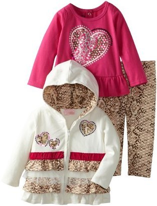 Nannette Baby-Girls Infant 3 Piece Print Heart Jacket with Shirt and Pant