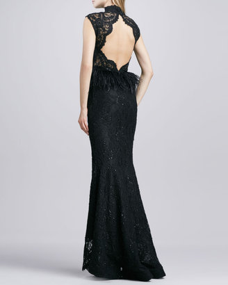 Alice + Olivia Jessica Beaded Feather-Peplum Gown