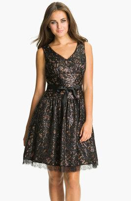 Eliza J V-Neck Sequin Fit & Flare Dress