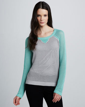 Design History Two-Tone Mesh Sweater