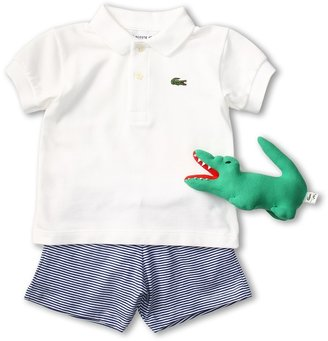 Lacoste Kids - Boys' Polo and Striped Short Baby Gift Set (White/Captain Blue) - Apparel