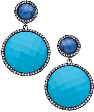 Madison Precious Jewels Silver Kyanite Sapphire and Turquoise Double Drop Earrings