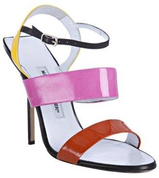 Manolo Blahnik pink patent leather 'Recif' color blocked strap sandals