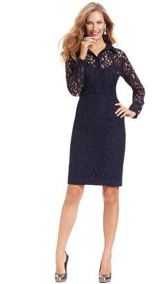 Jones New York Dress Jones New York Dress, Long-Sleeve Lace Shirtdress