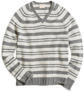 Brooks Brothers Lambswool Striped Raglan Sleeve V-Neck Sweater