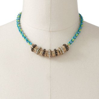 Rock & Republic Rock and republic two-tone simulated crystal and bead woven necklace
