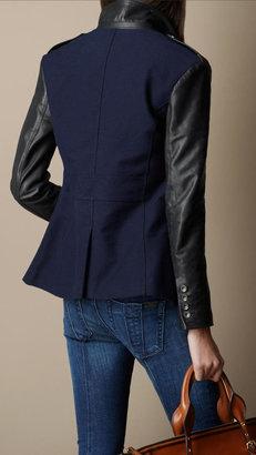 Burberry Leather Detail Twill Blazer