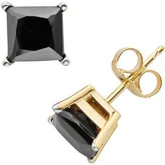 Black Diamond 10k Gold 3-ct. T.W. Princess-Cut Stud Earrings