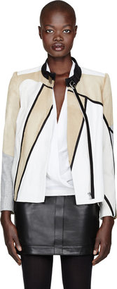 Helmut Lang Leather & Calf-Hair Patchwork Boxy Jacket