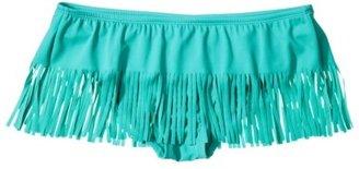 Xhilaration Junior's Swim Skirt w/ Fringe Detail -Teal