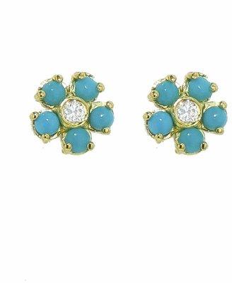 Jennifer Meyer Turquoise and Diamond Flower Stud Earrings
