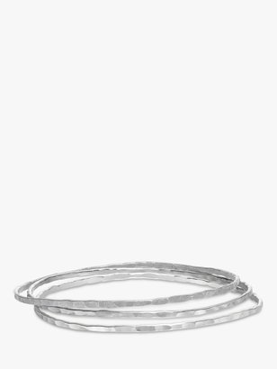 Dower & Hall Hammered Silver Trio Bangles, Silver