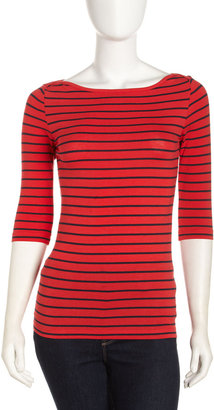 French Connection Bateau-Neck Stripe Tee, Love Red