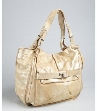 Kooba light gold foiled leather 'Mason' flap front shoulder bag