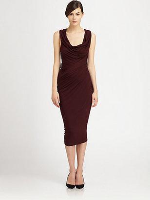 Donna Karan Asymmetrical Draped Stretch Jersey Dress