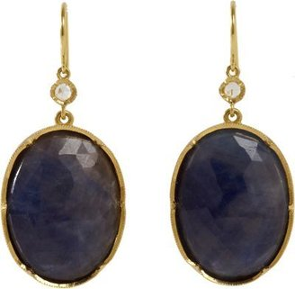 Irene Neuwirth Diamond & Blue Sapphire Oval Drop Earrings