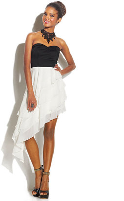 Trixxi Juniors' Asymmetrical-Hem Colorblock Dress