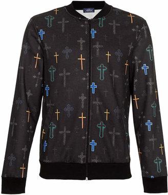 Topman Black Baroque Crosses Printed Jersey Bomber jacket