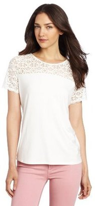 Chaus Women's Short Sleeve Lace Combo Top