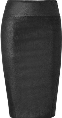 Faith Connexion Black Lambskin Pencil Skirt