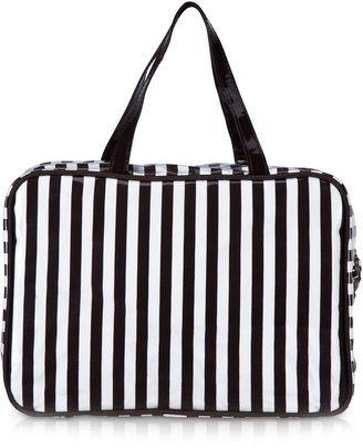 Henri Bendel Brown & White Stripe Large Hanging Weekender Bag