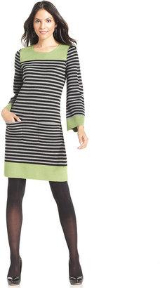 Eliza J Striped Colorblock Sweater Dress