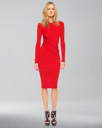 Michael Kors Long-Sleeve Faux-Wrap Dress, Crimson