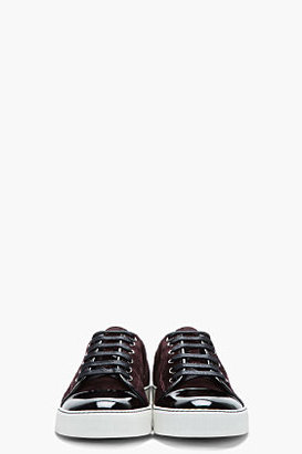 Lanvin Burgundy patent and suede tennis shoes