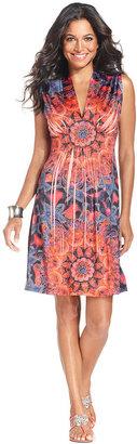 Style&Co. Dress, Sleeveless Printed Empire-Waist
