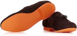 Topman Burgundy Suede Tassle Loafers