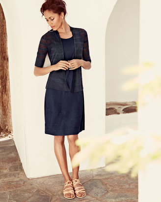 Eileen Fisher Sleeveless Linen-Stretch Lantern Dress, Navy