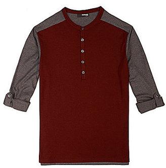 Murano Roll Sleeve Liquid Luxury Slim 2-Fer Henley Shirt