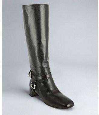 Prada black leather harness riding boots
