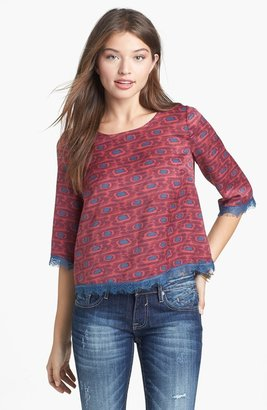 Lush Lace Trim Print Top (Juniors)